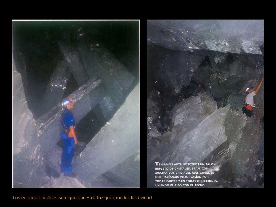Los enormes cristales semejan haces de luz que inundan la cavidad
