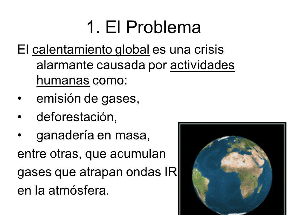 1. El Problema El calentamiento global es una crisis alarmante causada por actividades humanas como: emisión de gases, deforestación, ganadería en mas