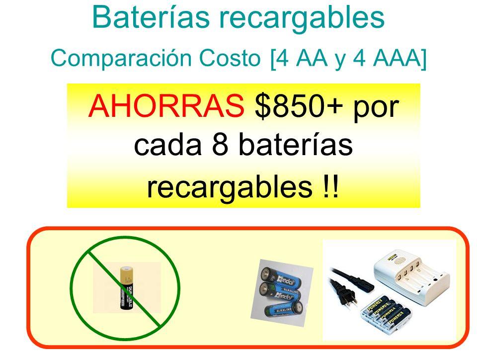 Baterías recargables Comparación Costo [4 AA y 4 AAA] AHORRAS $850+ por cada 8 baterías recargables !! *