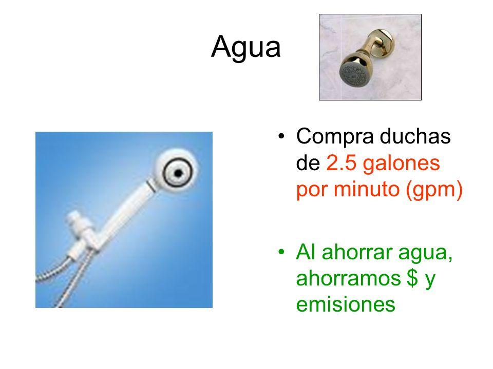 Agua Compra duchas de 2.5 galones por minuto (gpm) Al ahorrar agua, ahorramos $ y emisiones
