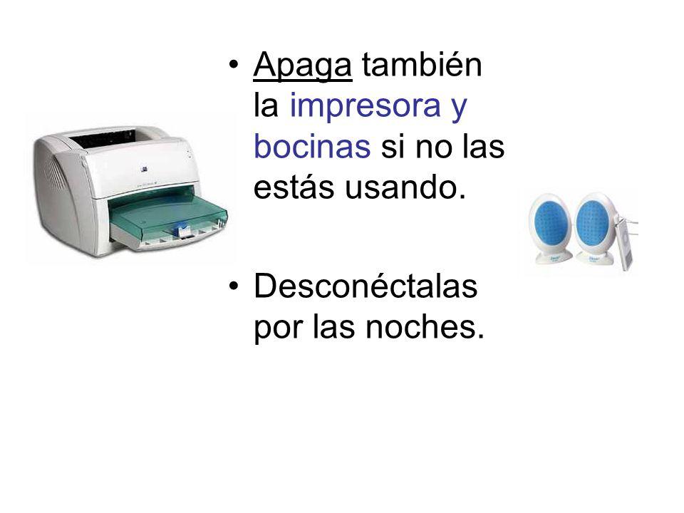 Apaga también la impresora y bocinas si no las estás usando. Desconéctalas por las noches.