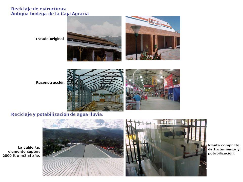 Estado original Reciclaje de estructuras Antigua bodega de la Caja Agraria Reconstrucción La cubierta, elemento captor: 2000 lt x m2 al año. Reciclaje