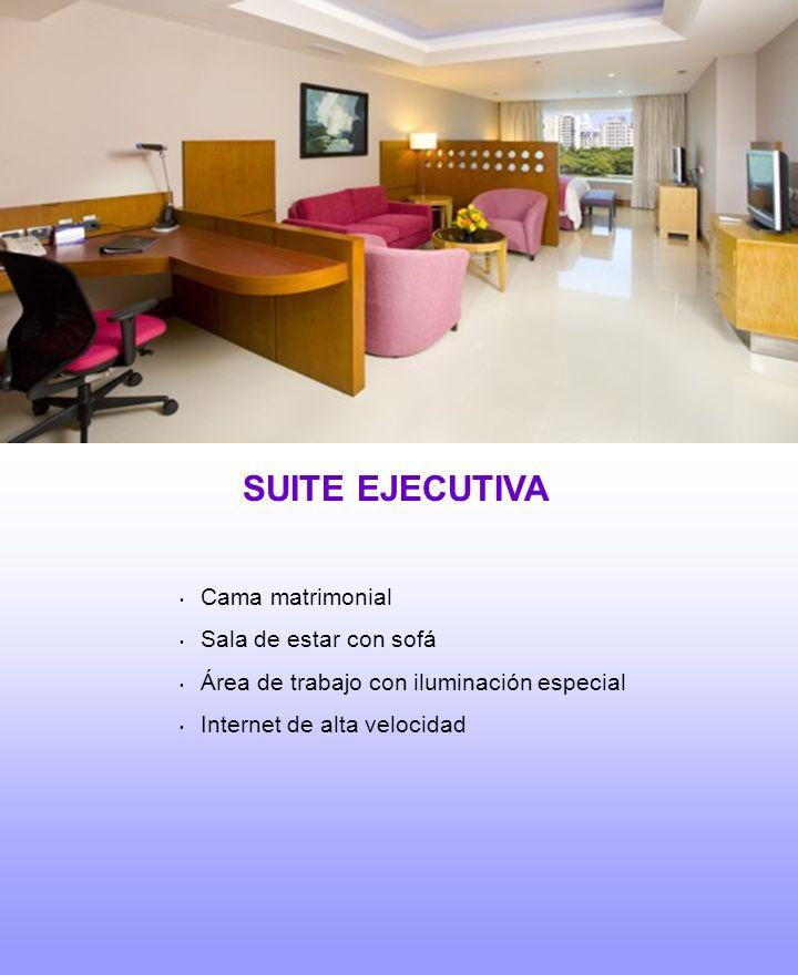 SUITE EJECUTIVA Cama matrimonial Sala de estar con sofá Área de trabajo con iluminación especial Internet de alta velocidad