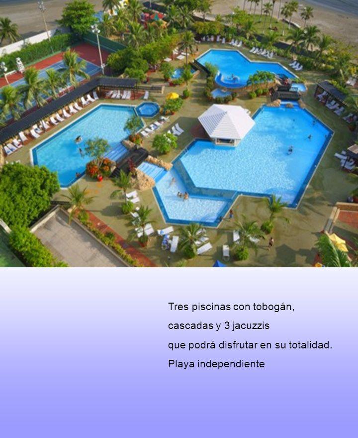 Tres piscinas con tobogán, cascadas y 3 jacuzzis que podrá disfrutar en su totalidad. Playa independiente