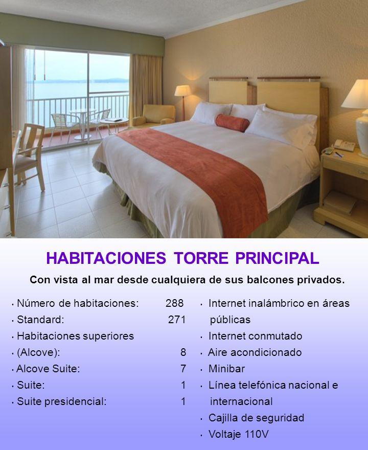 Número de habitaciones: 288 Standard: 271 Habitaciones superiores (Alcove): 8 Alcove Suite: 7 Suite: 1 Suite presidencial: 1 Internet inalámbrico en á