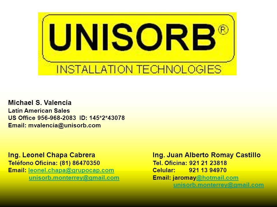 Ing. Juan Alberto Romay Castillo Tel. Oficina: 921 21 23818 Celular: 921 13 94970 Email: jaromay@hotmail.com@hotmail.com unisorb.monterrey@gmail.com M