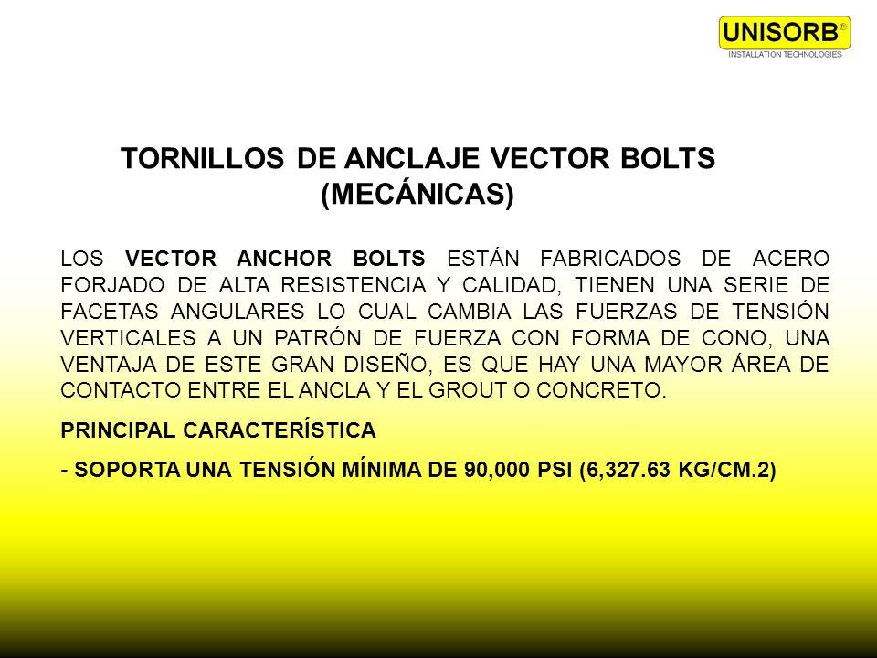 TORNILLOS DE ANCLAJE VECTOR BOLTS (MECÁNICAS) LOS VECTOR ANCHOR BOLTS ESTÁN FABRICADOS DE ACERO FORJADO DE ALTA RESISTENCIA Y CALIDAD, TIENEN UNA SERI