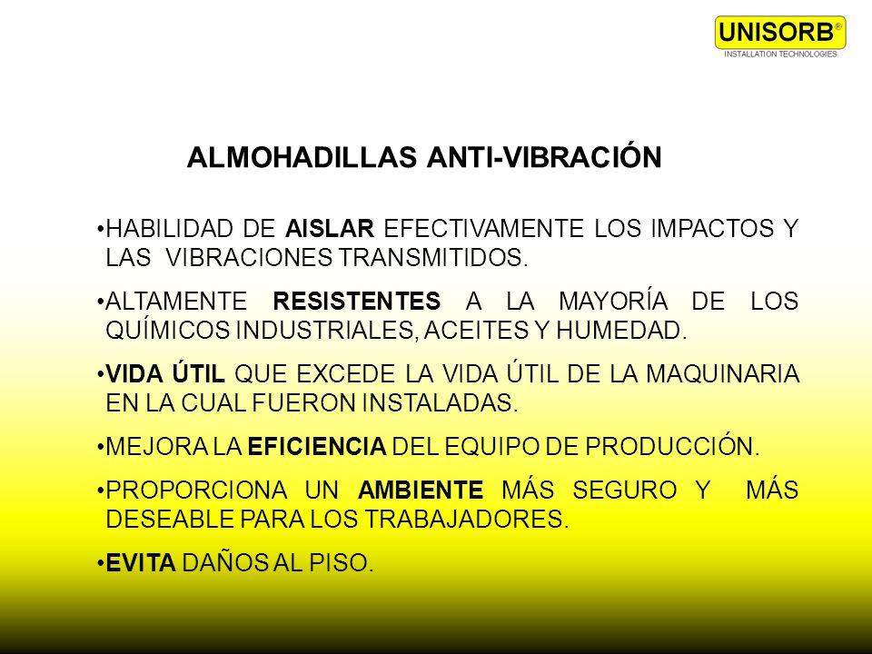 ALMOHADILLAS ANTI-VIBRACIÓN HABILIDAD DE AISLAR EFECTIVAMENTE LOS IMPACTOS Y LAS VIBRACIONES TRANSMITIDOS. ALTAMENTE RESISTENTES A LA MAYORÍA DE LOS Q