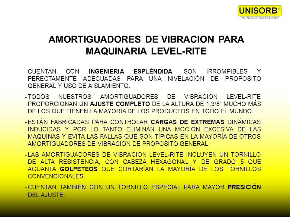 AMORTIGUADORES DE VIBRACION PARA MAQUINARIA LEVEL-RITE -CUENTAN CON INGENIERIA ESPLÉNDIDA, SON IRROMPIBLES Y PERECTAMENTE ADECUADAS PARA UNA NIVELACIÓ
