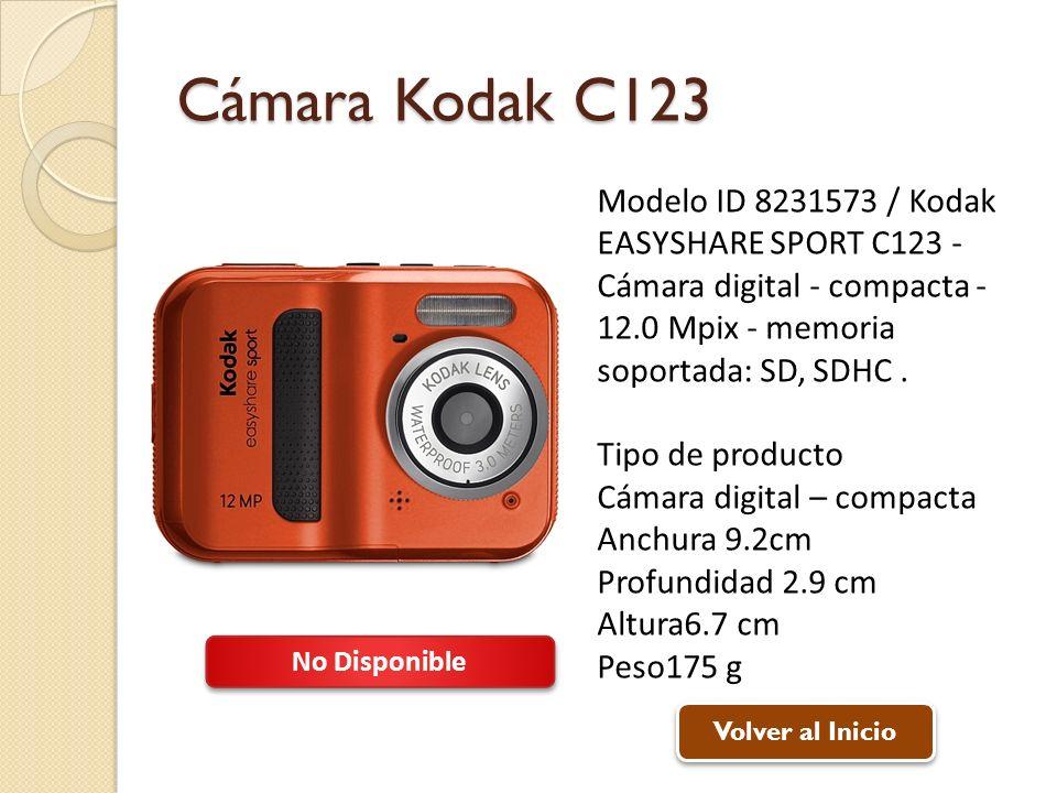 Cámara Kodak C123 Modelo ID 8231573 / Kodak EASYSHARE SPORT C123 - Cámara digital - compacta - 12.0 Mpix - memoria soportada: SD, SDHC. Tipo de produc