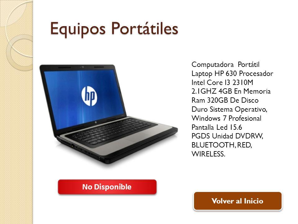 Equipos Portátiles Computadora Portátil Laptop HP 630 Procesador Intel Core I3 2310M 2.1GHZ 4GB En Memoria Ram 320GB De Disco Duro Sistema Operativo,