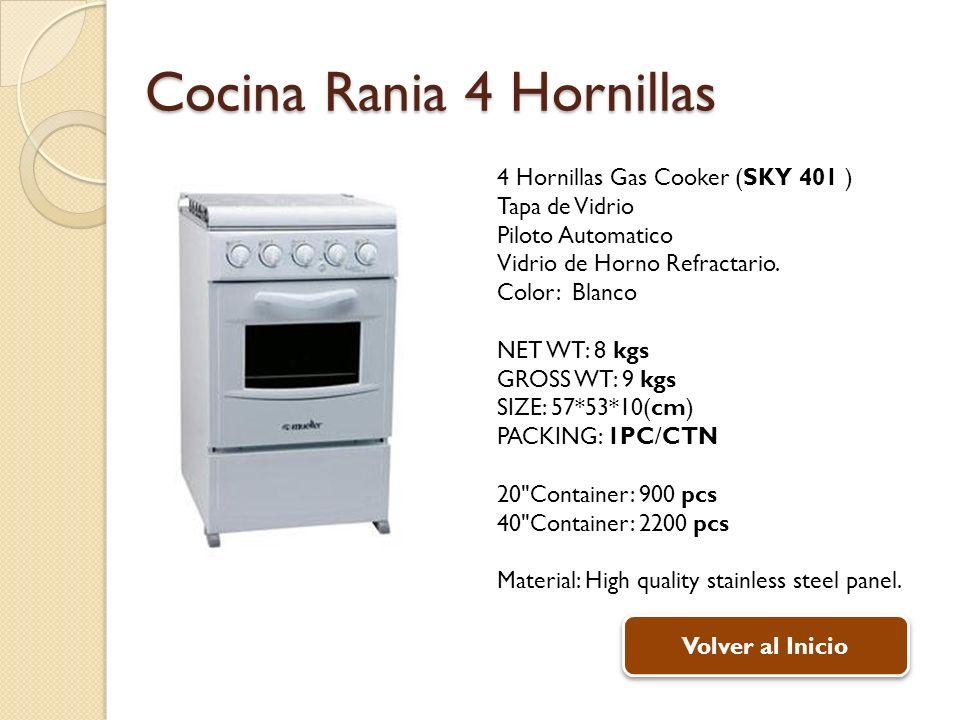 Cocina Rania 4 Hornillas 4 Hornillas Gas Cooker (SKY 401 ) Tapa de Vidrio Piloto Automatico Vidrio de Horno Refractario. Color: Blanco NET WT: 8 kgs G