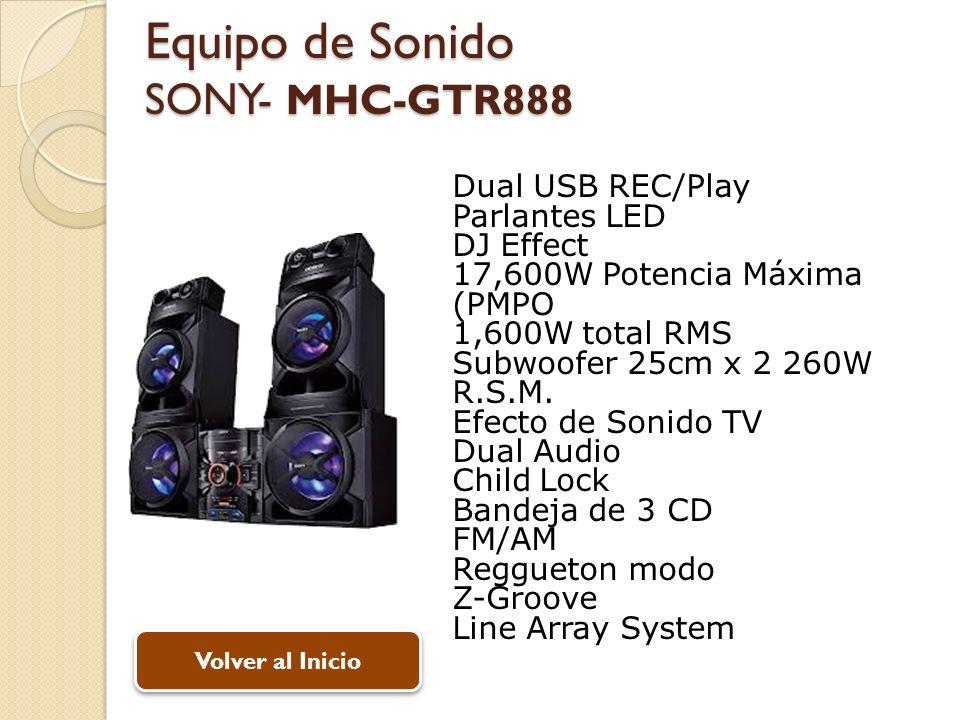 Equipo de Sonido SONY- MHC-GTR888 Dual USB REC/Play Parlantes LED DJ Effect 17,600W Potencia Máxima (PMPO 1,600W total RMS Subwoofer 25cm x 2 260W R.S