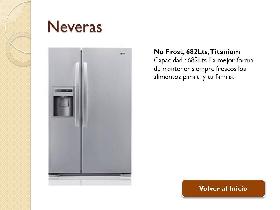 Neveras No Frost, 682Lts, Titanium Capacidad : 682Lts. La mejor forma de mantener siempre frescos los alimentos para ti y tu familia. Volver al Inicio