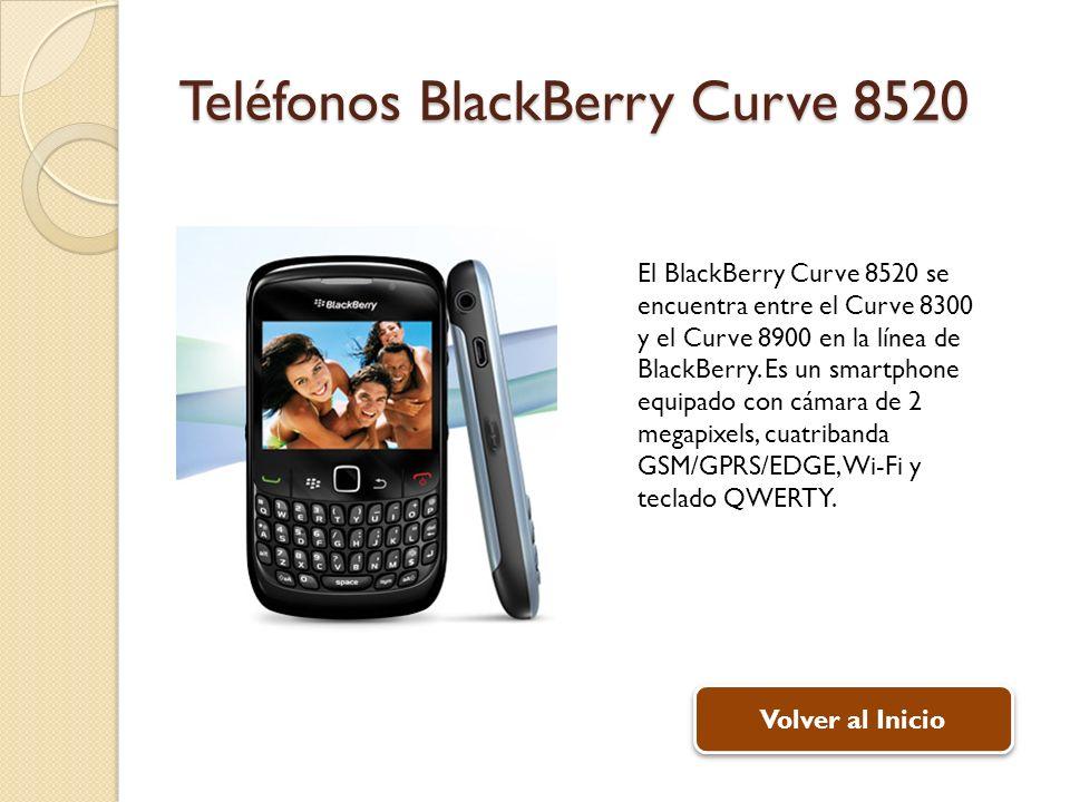 Teléfonos BlackBerry Curve 8520 El BlackBerry Curve 8520 se encuentra entre el Curve 8300 y el Curve 8900 en la línea de BlackBerry. Es un smartphone