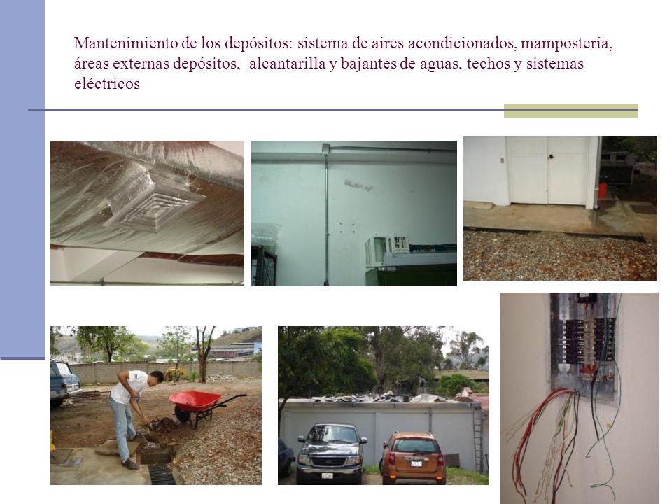 Mantenimiento de los depósitos: sistema de aires acondicionados, mampostería, áreas externas depósitos, alcantarilla y bajantes de aguas, techos y sis