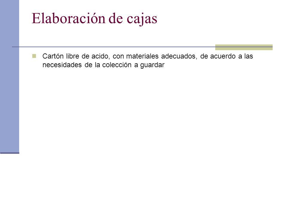 Elaboración de cajas Cartón libre de acido, con materiales adecuados, de acuerdo a las necesidades de la colección a guardar