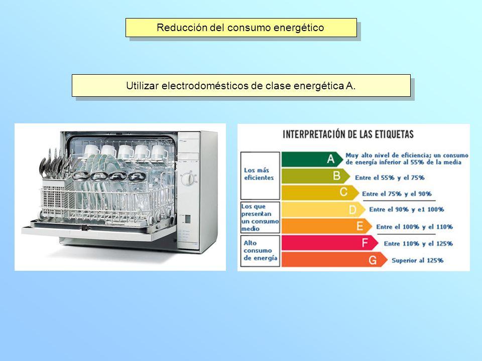 Reducción del consumo energético Utilizar electrodomésticos de clase energética A.