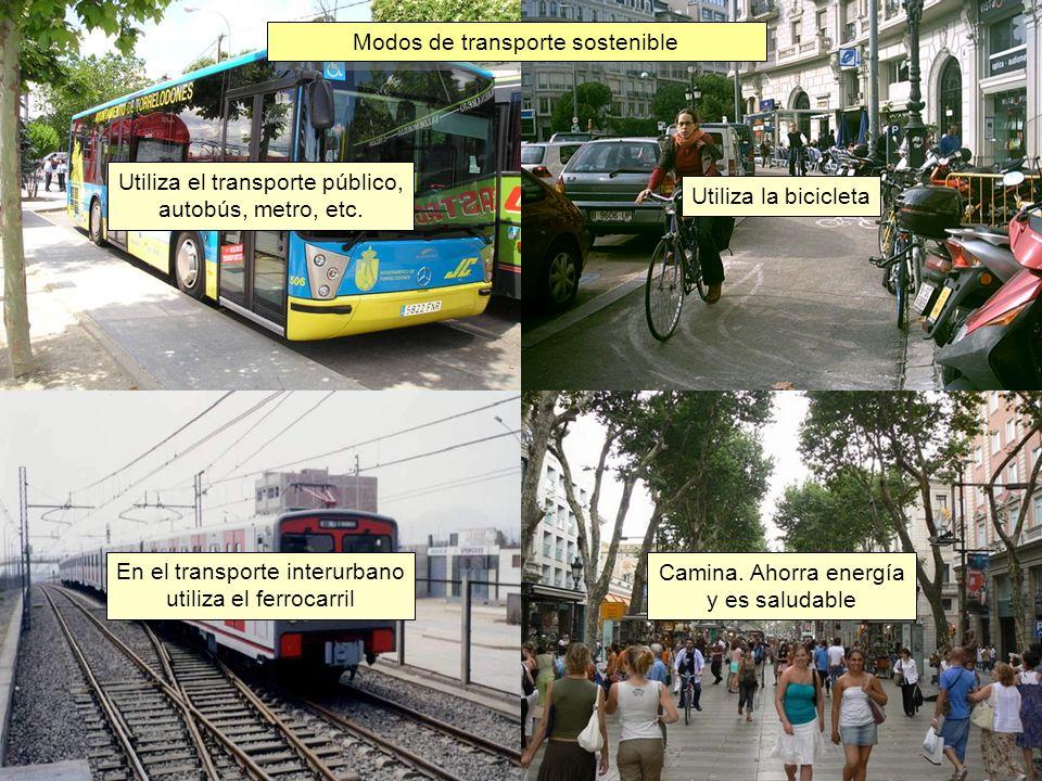 En el transporte interurbano utiliza el ferrocarril Utiliza la bicicleta Utiliza el transporte público, autobús, metro, etc. Modos de transporte soste