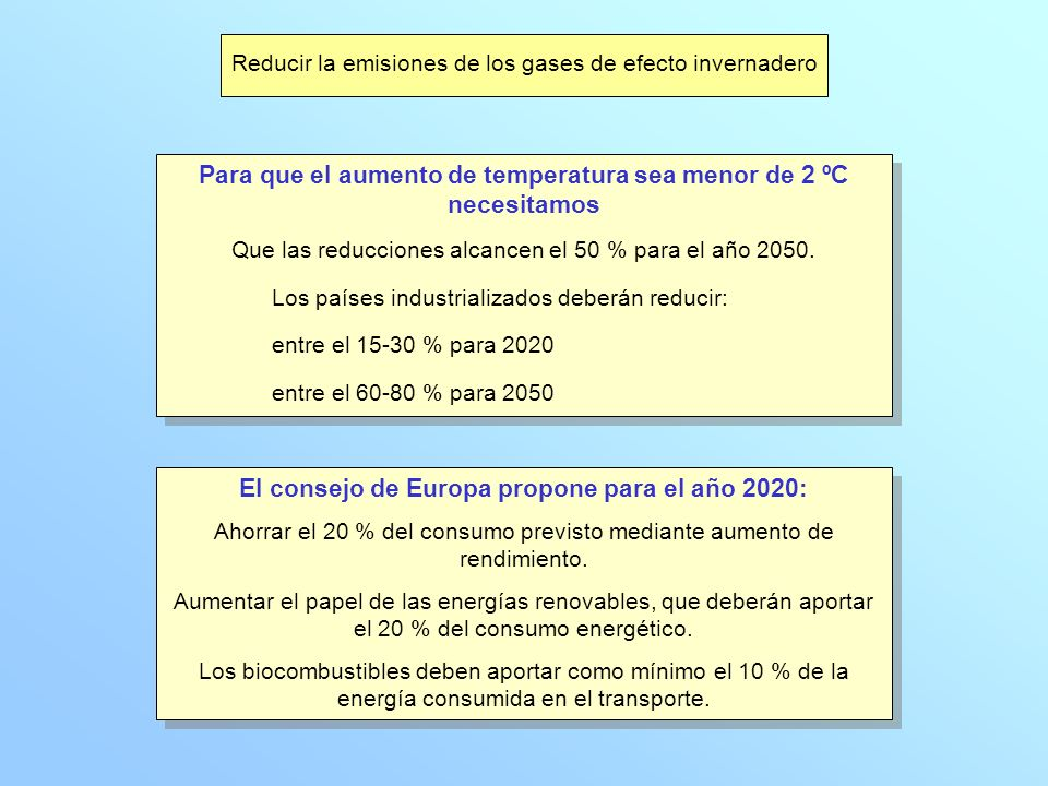 Reducir la emisiones de los gases de efecto invernadero Para que el aumento de temperatura sea menor de 2 ºC necesitamos Que las reducciones alcancen