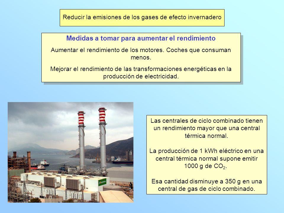 Reducir la emisiones de los gases de efecto invernadero Medidas a tomar para aumentar el rendimiento Aumentar el rendimiento de los motores. Coches qu