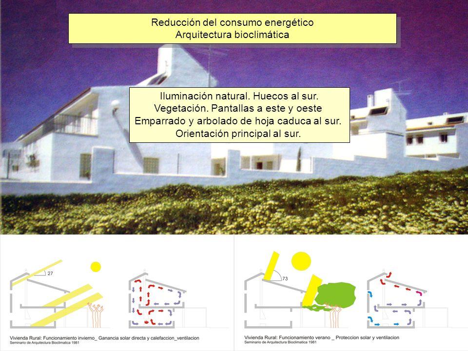 Reducción del consumo energético Arquitectura bioclimática Reducción del consumo energético Arquitectura bioclimática Iluminación natural. Huecos al s