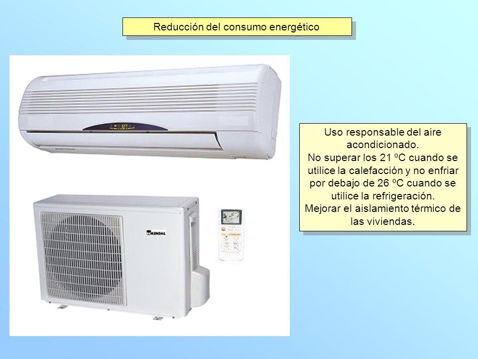 Reducción del consumo energético Uso responsable del aire acondicionado. No superar los 21 ºC cuando se utilice la calefacción y no enfriar por debajo