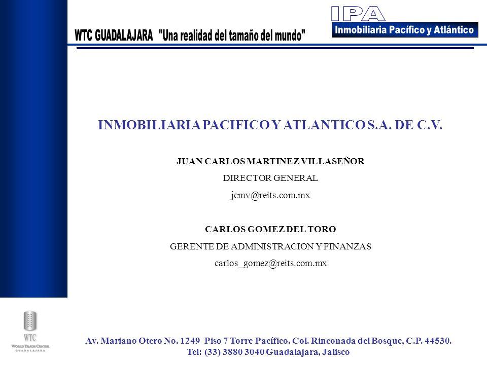 INMOBILIARIA PACIFICO Y ATLANTICO S.A. DE C.V. JUAN CARLOS MARTINEZ VILLASEÑOR DIRECTOR GENERAL jcmv@reits.com.mx CARLOS GOMEZ DEL TORO GERENTE DE ADM