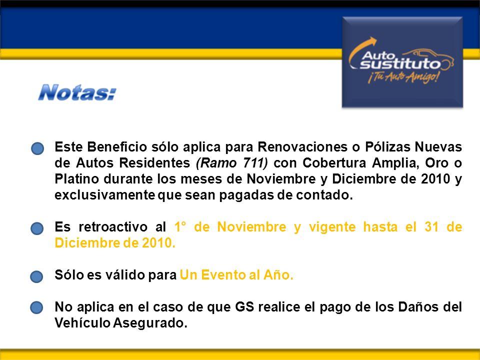 Este Beneficio sólo aplica para Renovaciones o Pólizas Nuevas de Autos Residentes (Ramo 711) con Cobertura Amplia, Oro o Platino durante los meses de Noviembre y Diciembre de 2010 y exclusivamente que sean pagadas de contado.