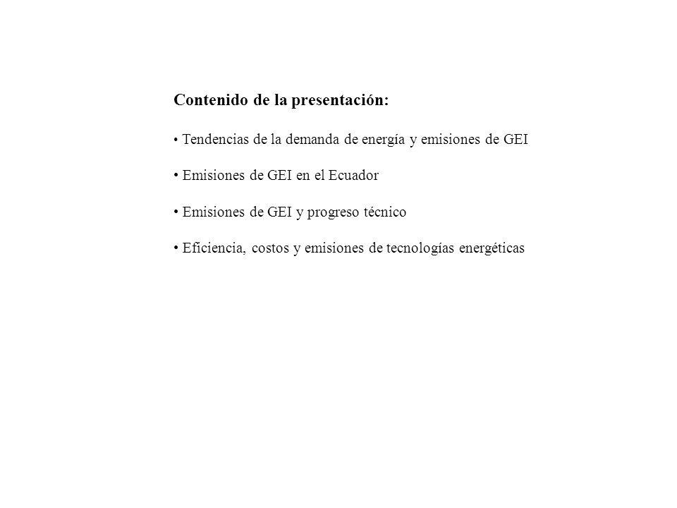 Contenido de la presentación: Tendencias de la demanda de energía y emisiones de GEI Emisiones de GEI en el Ecuador Emisiones de GEI y progreso técnico Eficiencia, costos y emisiones de tecnologías energéticas