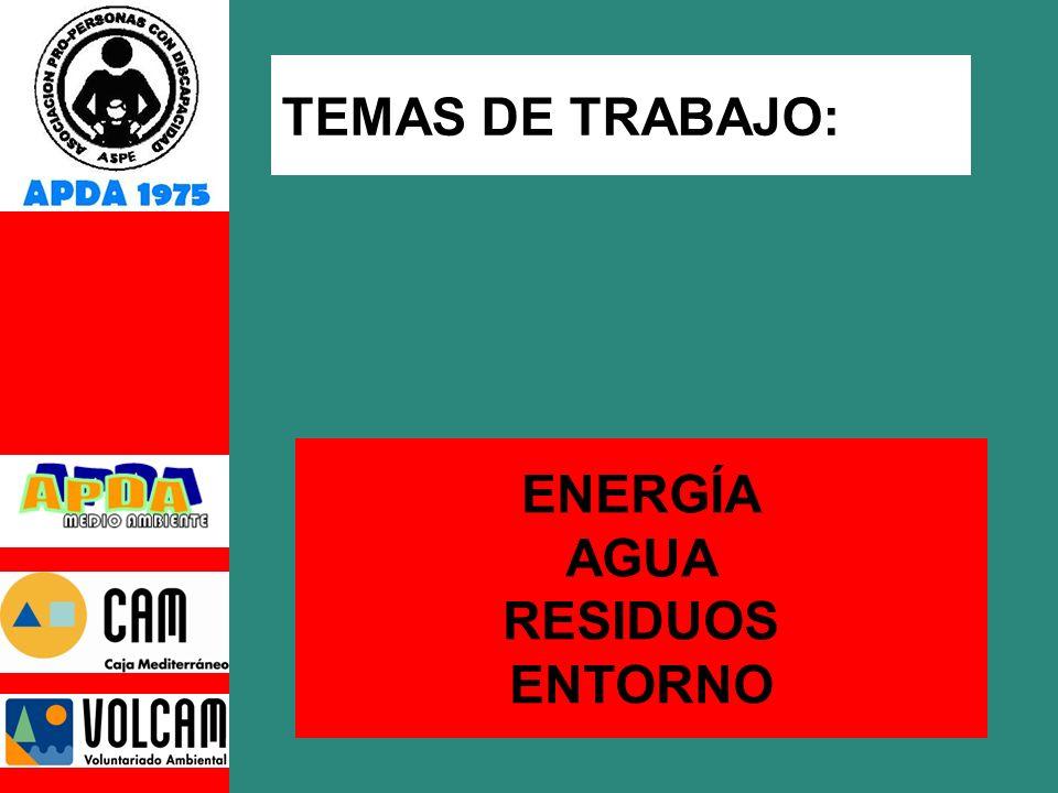 TEMAS DE TRABAJO: ENERGÍA AGUA RESIDUOS ENTORNO