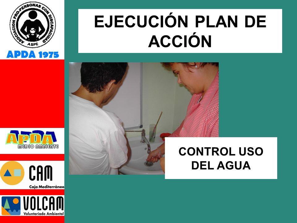 CONTROL USO DEL AGUA EJECUCIÓN PLAN DE ACCIÓN