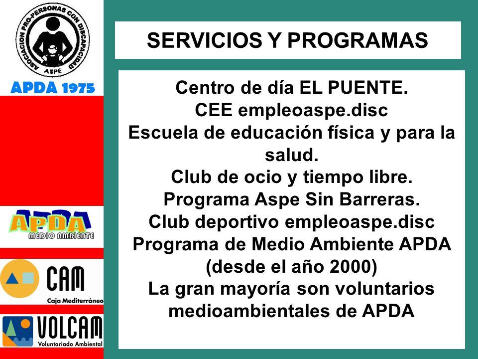 Centro de día EL PUENTE.CEE empleoaspe.disc Escuela de educación física y para la salud.