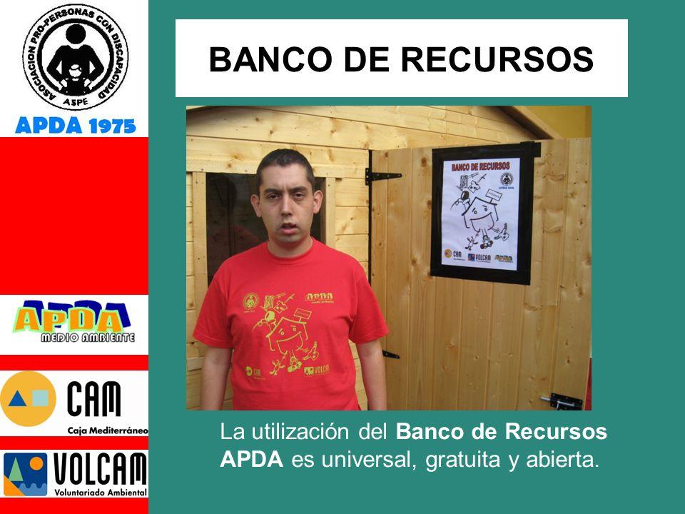 La utilización del Banco de Recursos APDA es universal, gratuita y abierta. BANCO DE RECURSOS