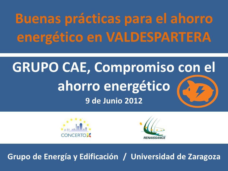 Buenas prácticas para el ahorro energético en VALDESPARTERA GRUPO CAE, Compromiso con el ahorro energético 9 de Junio 2012 Grupo de Energía y Edificación / Universidad de Zaragoza