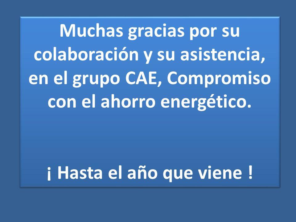 Muchas gracias por su colaboración y su asistencia, en el grupo CAE, Compromiso con el ahorro energético.