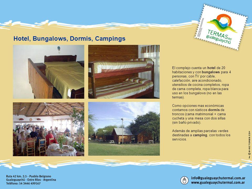 El complejo cuenta un hotel de 20 habitaciones y con bungalows para 4 personas, con TV por cable, calefacción, aire acondicionado, utensilios de cocin