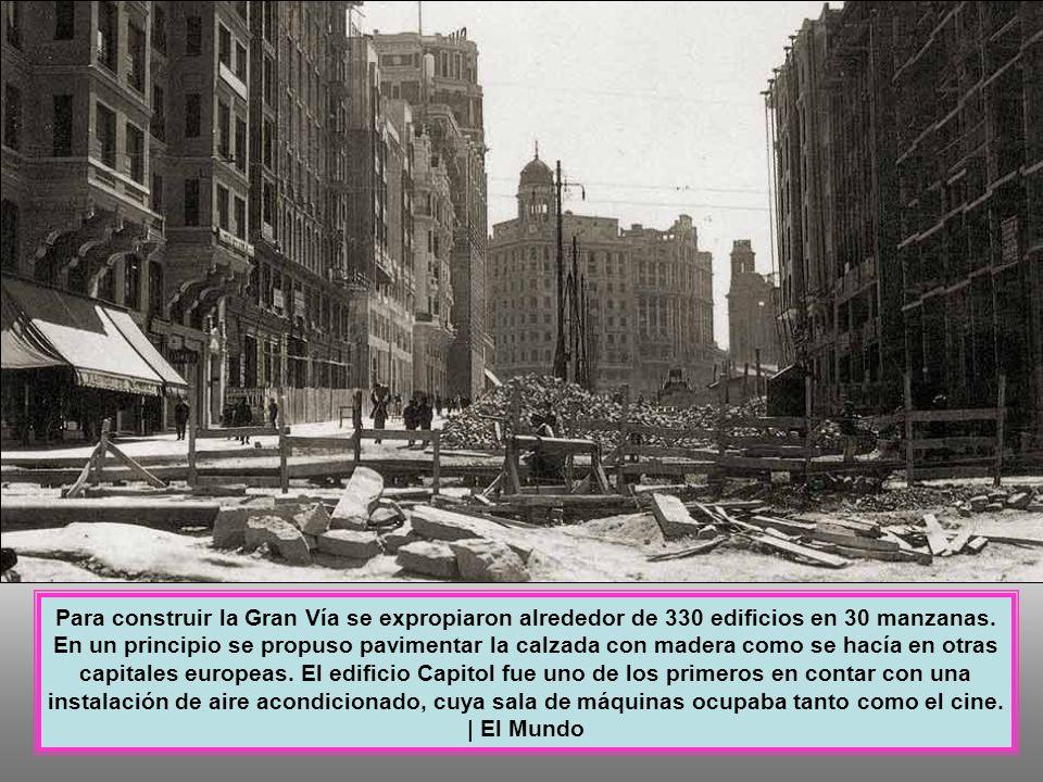 El tramo cercano a la Plaza de España fue el que más sufrió por su proximidad a la Ciudad Universitaria y a la Casa de Campo, entonces campo de combate.