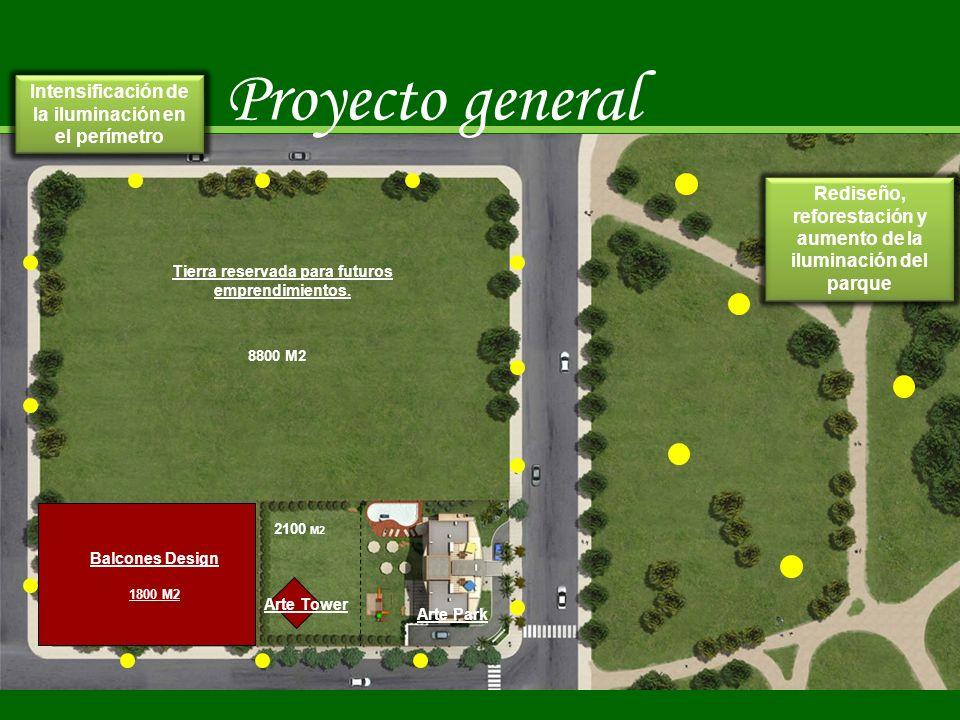 2100 M2 Tierra reservada para futuros emprendimientos. 8800 M2 Arte Tower Arte Park Balcones Design 1800 M2 Proyecto general Rediseño, reforestación y