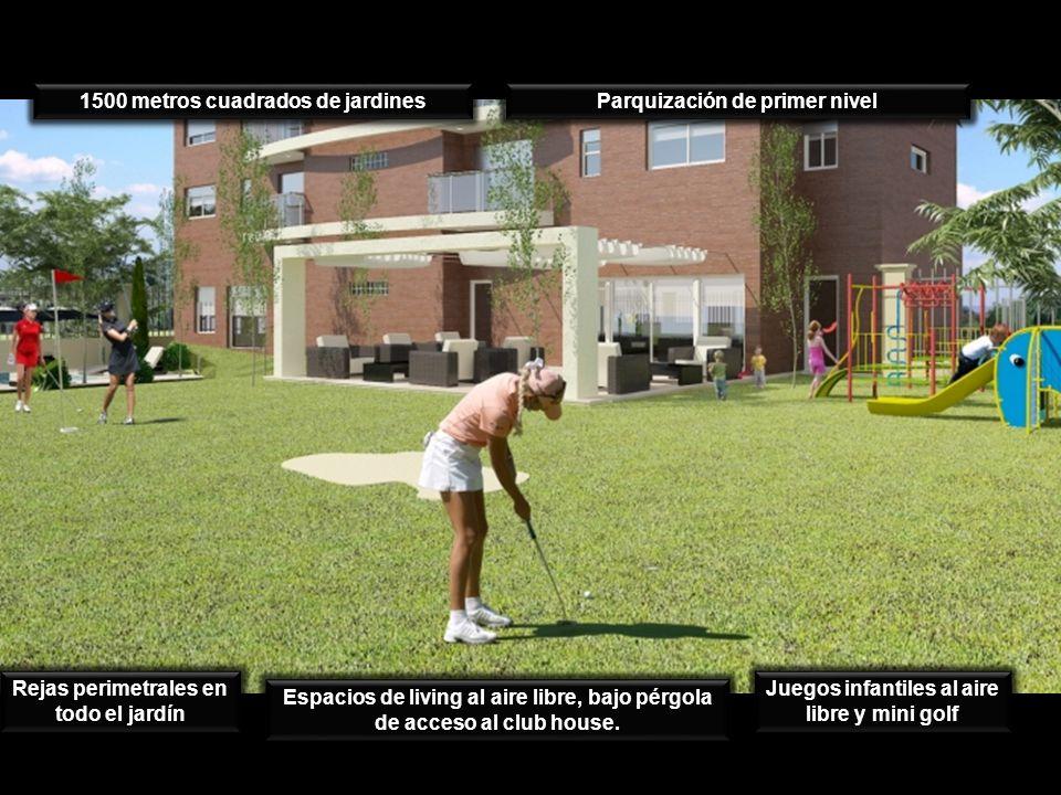 Parquización de primer nivel 1500 metros cuadrados de jardines Juegos infantiles al aire libre y mini golf Espacios de living al aire libre, bajo pérg