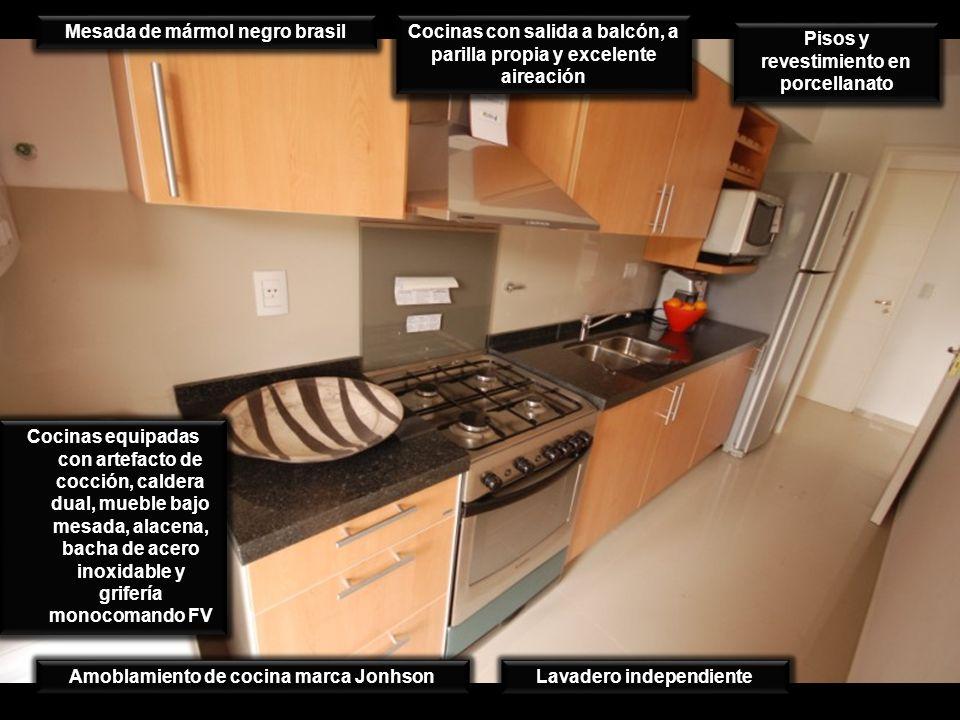 Cocinas con salida a balcón, a parilla propia y excelente aireación Pisos y revestimiento en porcellanato Mesada de mármol negro brasil Cocinas equipa