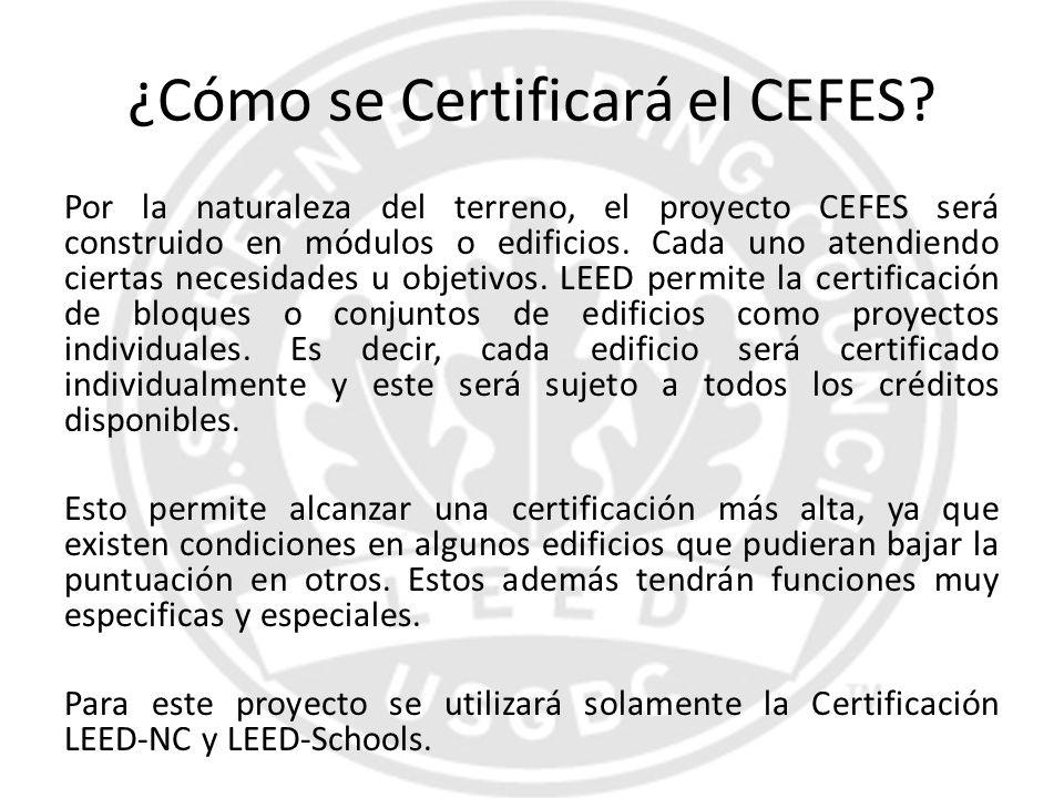 ¿Cómo se Certificará el CEFES? Por la naturaleza del terreno, el proyecto CEFES será construido en módulos o edificios. Cada uno atendiendo ciertas ne