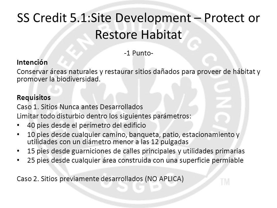 SS Credit 5.1:Site Development – Protect or Restore Habitat -1 Punto- Intención Conservar áreas naturales y restaurar sitios dañados para proveer de h