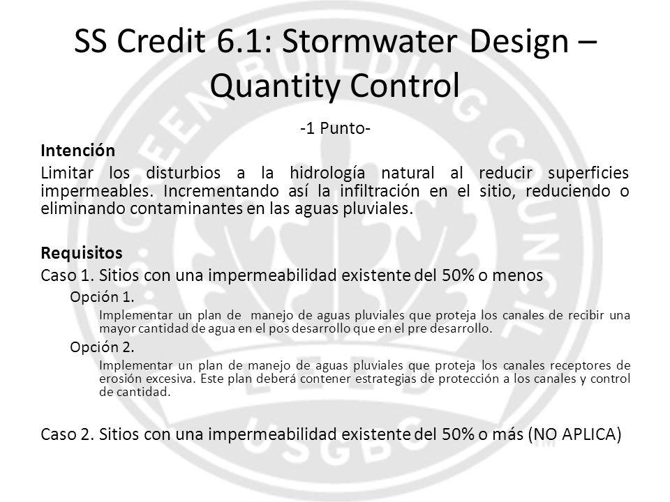 SS Credit 6.1: Stormwater Design – Quantity Control -1 Punto- Intención Limitar los disturbios a la hidrología natural al reducir superficies impermea