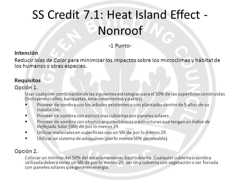 SS Credit 7.1: Heat Island Effect - Nonroof -1 Punto- Intención Reducir Islas de Calor para minimizar los impactos sobre los microclimas y hábitat de