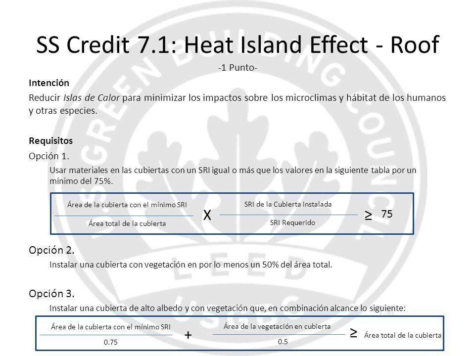 SS Credit 7.1: Heat Island Effect - Roof -1 Punto- Intención Reducir Islas de Calor para minimizar los impactos sobre los microclimas y hábitat de los