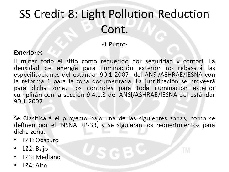 SS Credit 8: Light Pollution Reduction Cont. -1 Punto- Exteriores Iluminar todo el sitio como requerido por seguridad y confort. La densidad de energí