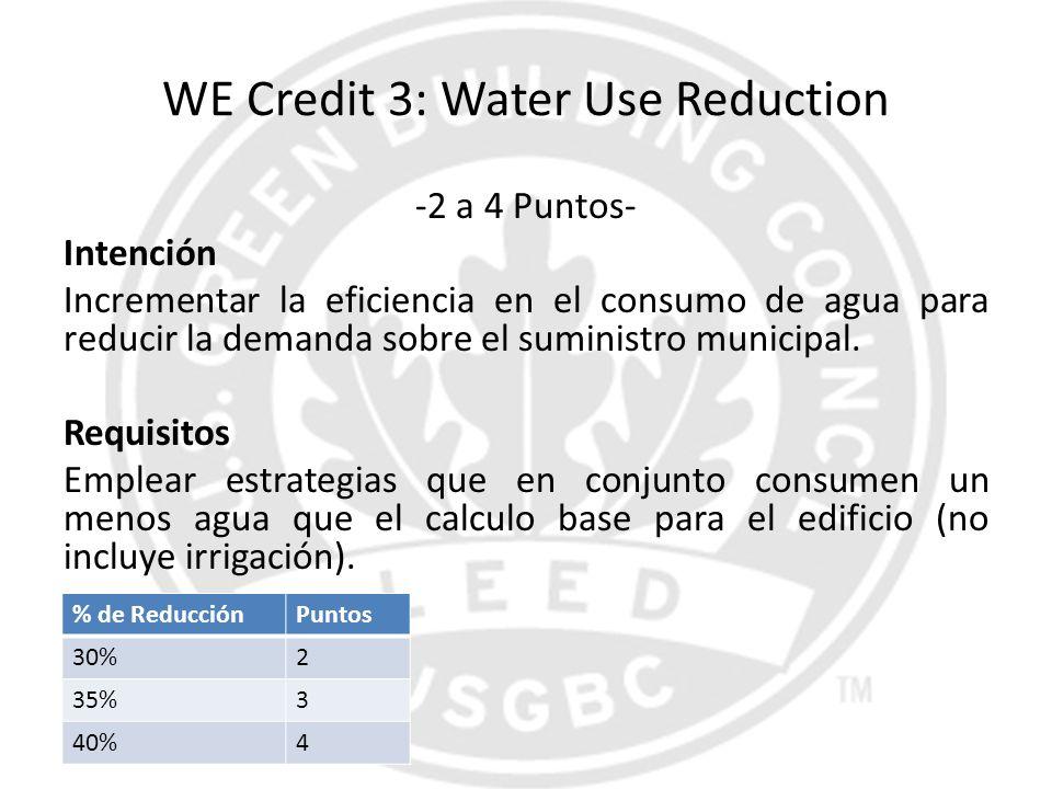WE Credit 3: Water Use Reduction -2 a 4 Puntos- Intención Incrementar la eficiencia en el consumo de agua para reducir la demanda sobre el suministro