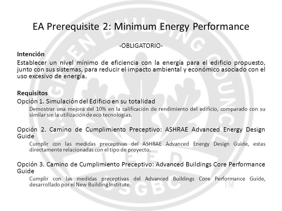 EA Prerequisite 2: Minimum Energy Performance -OBLIGATORIO- Intención Establecer un nivel mínimo de eficiencia con la energía para el edificio propues
