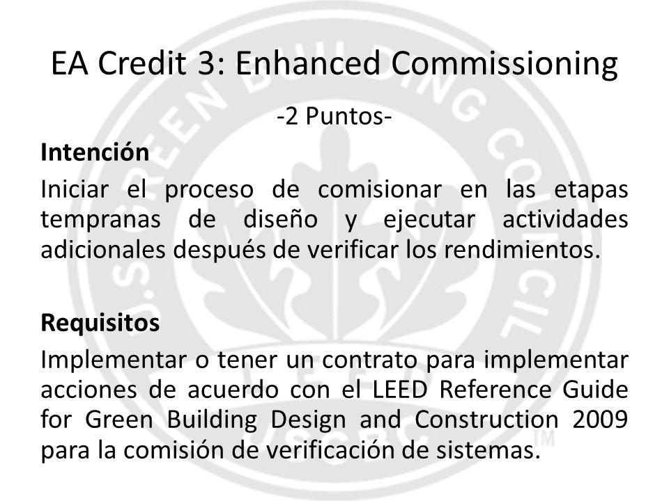 EA Credit 3: Enhanced Commissioning -2 Puntos- Intención Iniciar el proceso de comisionar en las etapas tempranas de diseño y ejecutar actividades adi
